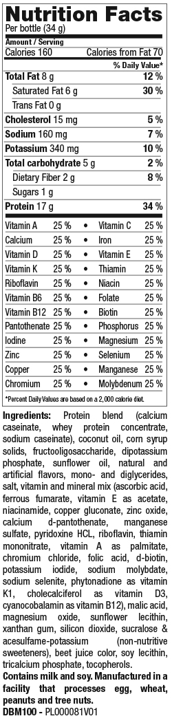 Berry Shake Mix nutrition spec graphic