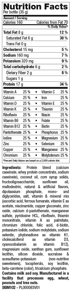 Vanilla Shake Mix nutrition spec graphic