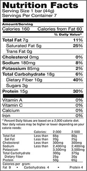 Fluffy Vanilla Low Carb Bar nutrition spec graphic