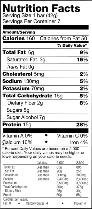 Peanut Butter Cup Layered Bar nutrition spec graphic