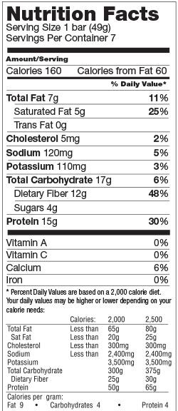 Chocolate Crisp Low Carb Bar nutrition spec graphic